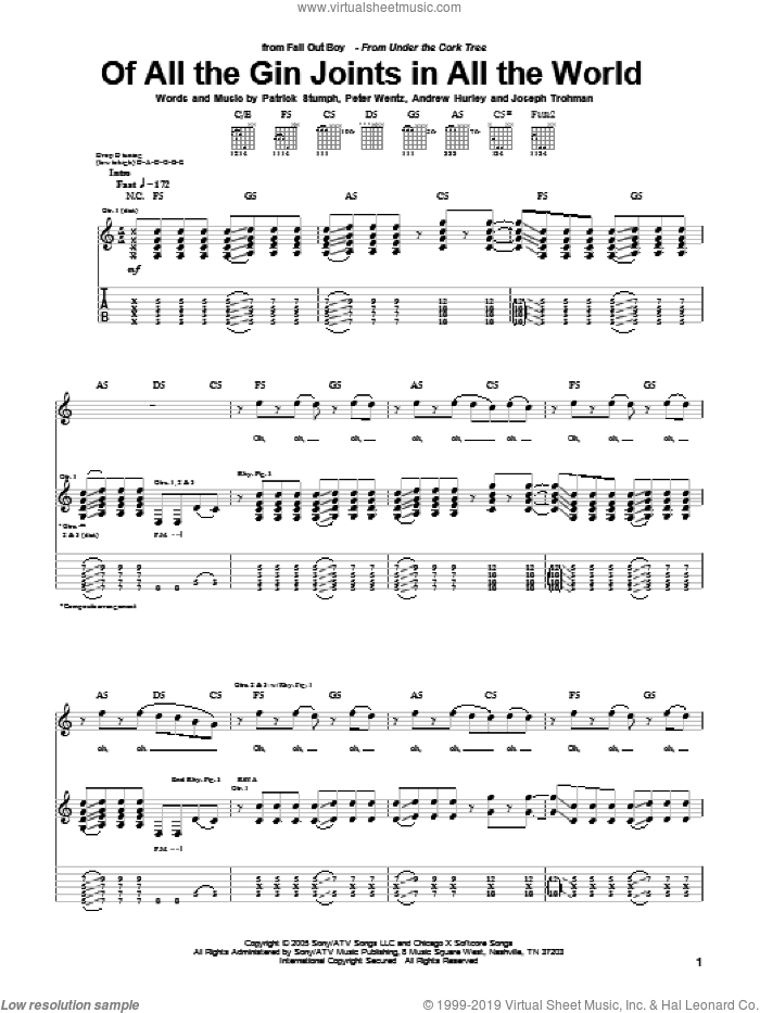 Of All The Gin Joints In All The World sheet music for guitar (tablature) by Peter Wentz, Fall Out Boy and Andrew Hurley. Score Image Preview.