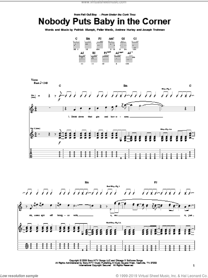 Nobody Puts Baby In The Corner sheet music for guitar (tablature) by Peter Wentz, Fall Out Boy and Andrew Hurley. Score Image Preview.