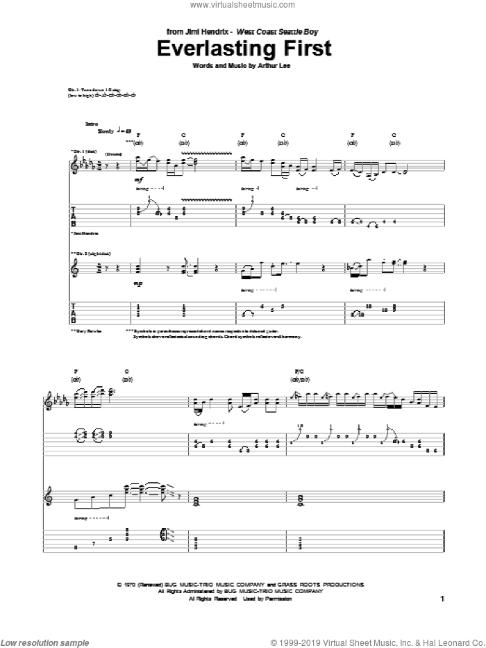 Everlasting First sheet music for guitar (tablature) by Arthur Lee and Jimi Hendrix. Score Image Preview.