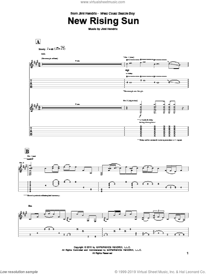 The New Rising Sun sheet music for guitar (tablature) by Jimi Hendrix, intermediate skill level