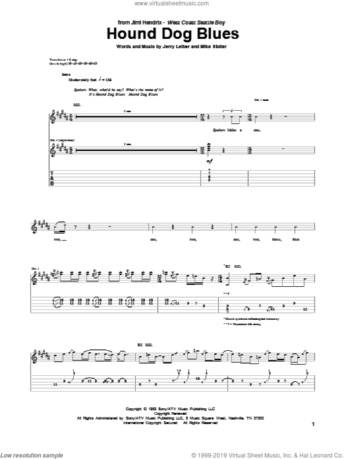 Hound Dog Blues sheet music for guitar (tablature) by Jimi Hendrix, Jerry Leiber and Mike Stoller, intermediate skill level
