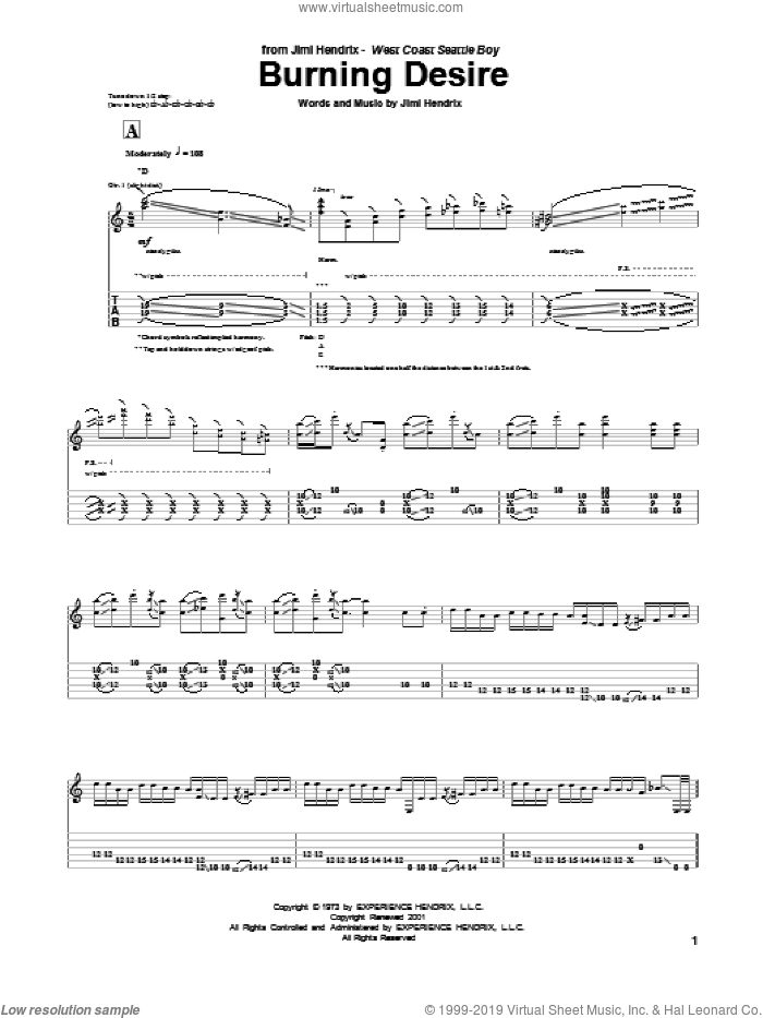 Burning Desire sheet music for guitar (tablature) by Jimi Hendrix. Score Image Preview.