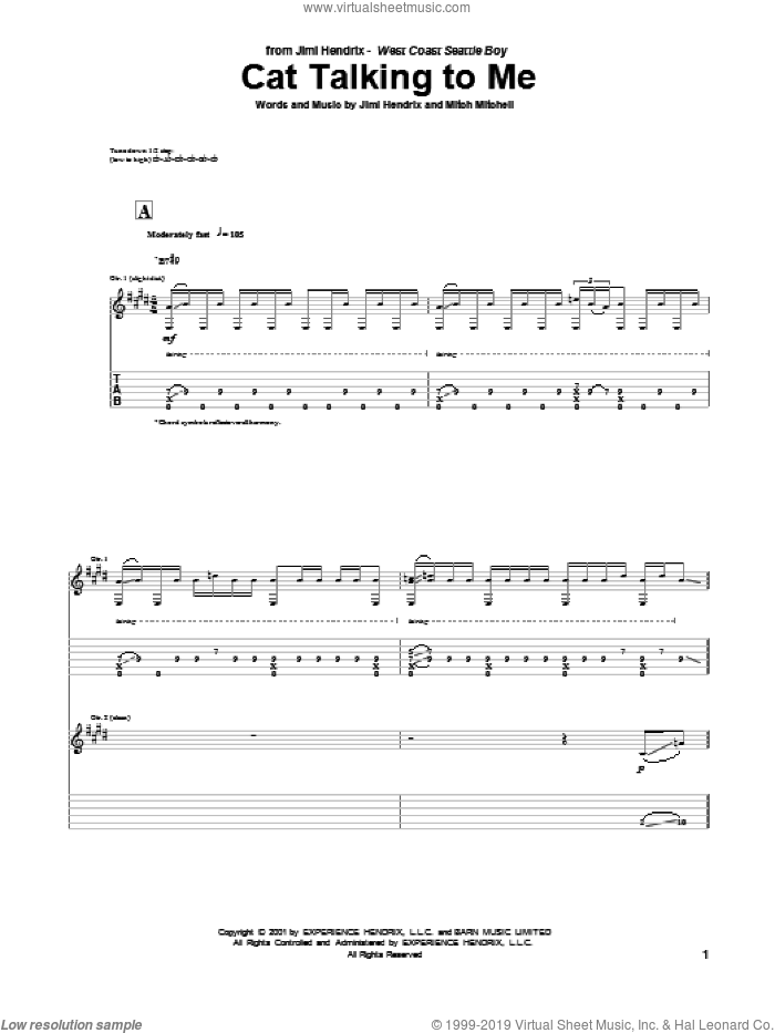 Cat Talking To Me sheet music for guitar (tablature) by Mitch Mitchell and Jimi Hendrix. Score Image Preview.