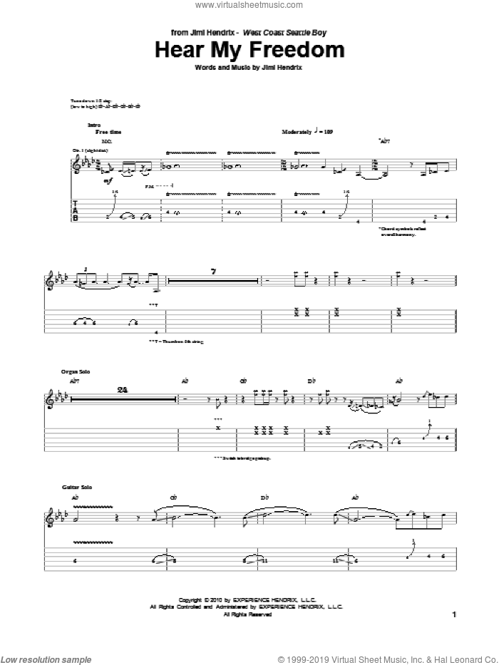 Hear My Freedom sheet music for guitar (tablature) by Jimi Hendrix. Score Image Preview.