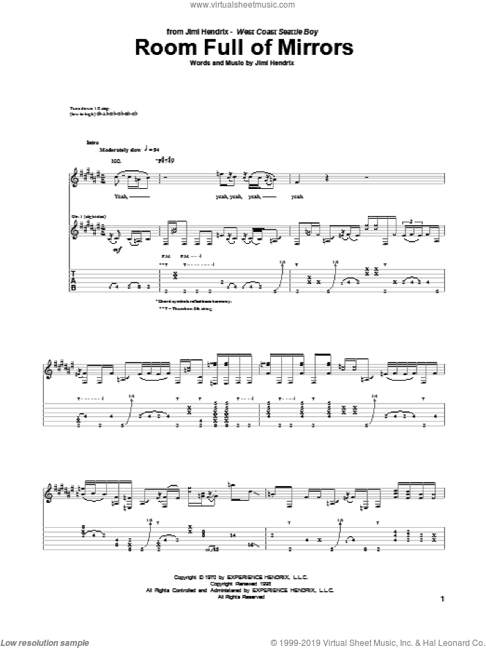 Room Full Of Mirrors sheet music for guitar (tablature) by Jimi Hendrix, intermediate. Score Image Preview.