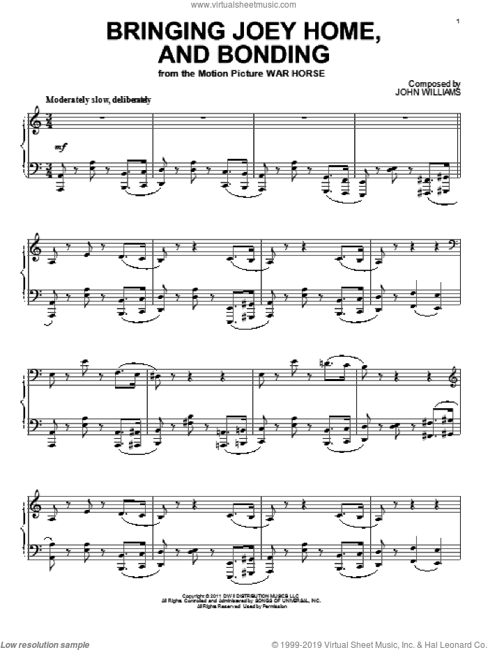 Bringing Joey Home, And Bonding sheet music for piano solo by John Williams and War Horse (Movie), intermediate skill level