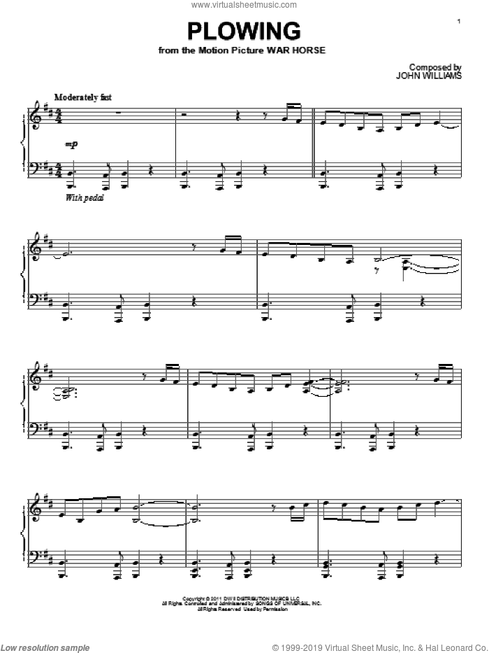 Plowing sheet music for piano solo by John Williams and War Horse (Movie), intermediate skill level
