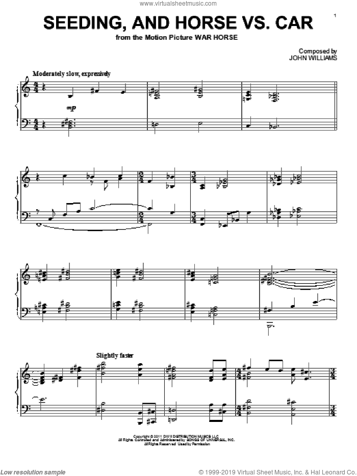 Seeding, And Horse Vs. Car sheet music for piano solo by John Williams, intermediate piano. Score Image Preview.