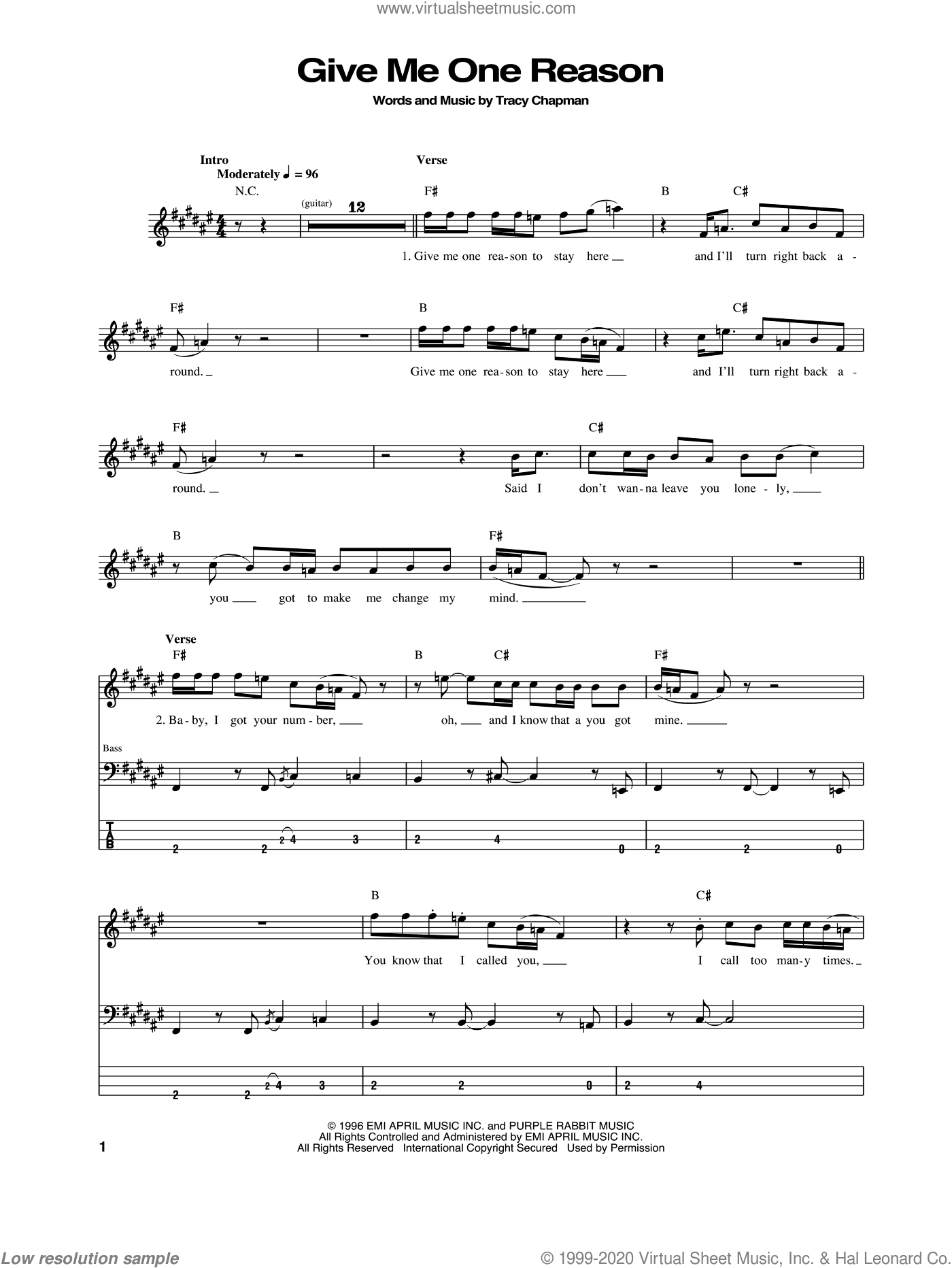 Give Me One Reason sheet music for bass (tablature) (bass guitar) by Tracy Chapman, intermediate skill level