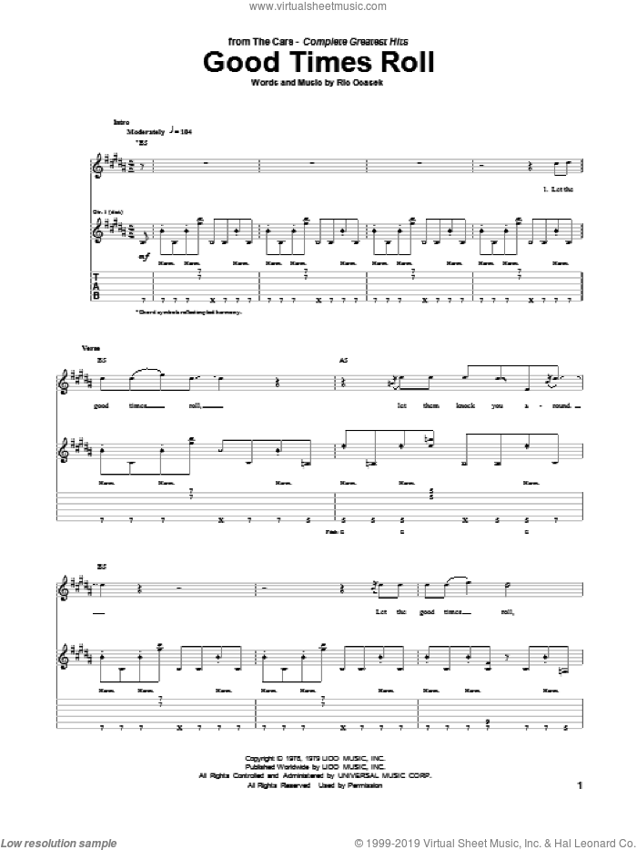 Good Times Roll sheet music for guitar (tablature) by Ric Ocasek. Score Image Preview.
