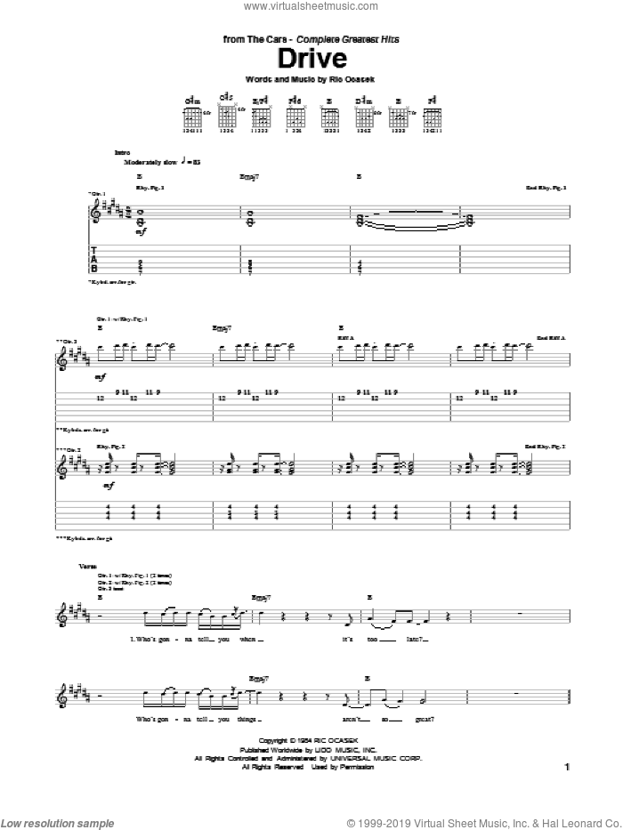 Drive sheet music for guitar (tablature) by The Cars and Ric Ocasek, intermediate