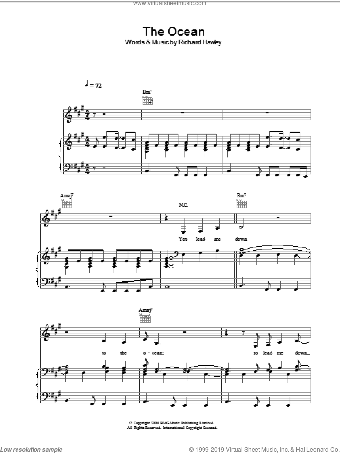 The Ocean sheet music for voice, piano or guitar by Richard Hawley. Score Image Preview.