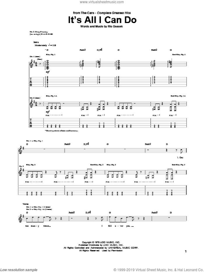 It's All I Can Do sheet music for guitar (tablature) by The Cars, intermediate. Score Image Preview.