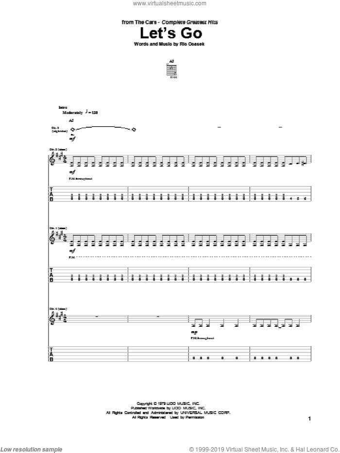 Let's Go sheet music for guitar (tablature) by The Cars and Ric Ocasek, intermediate
