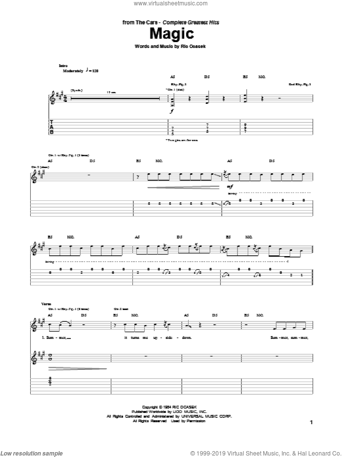 Magic sheet music for guitar (tablature) by The Cars. Score Image Preview.