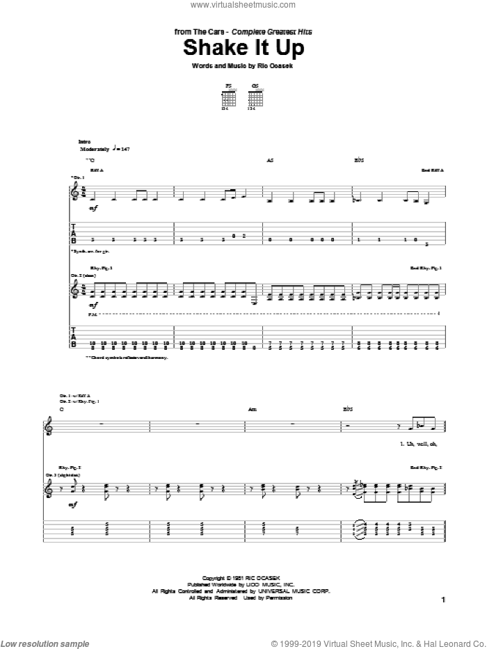 Shake It Up sheet music for guitar (tablature) by The Cars. Score Image Preview.