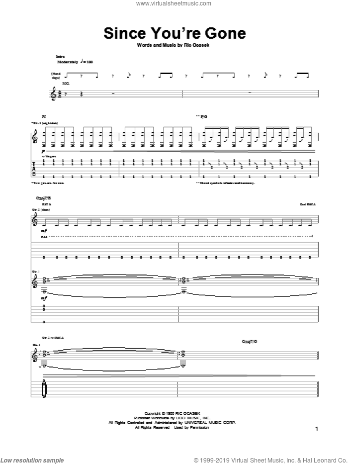 Since You're Gone sheet music for guitar (tablature) by Ric Ocasek. Score Image Preview.