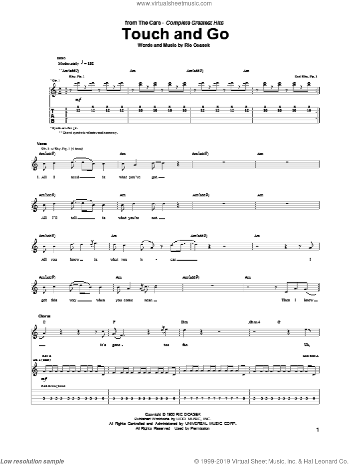 Touch And Go sheet music for guitar (tablature) by The Cars. Score Image Preview.