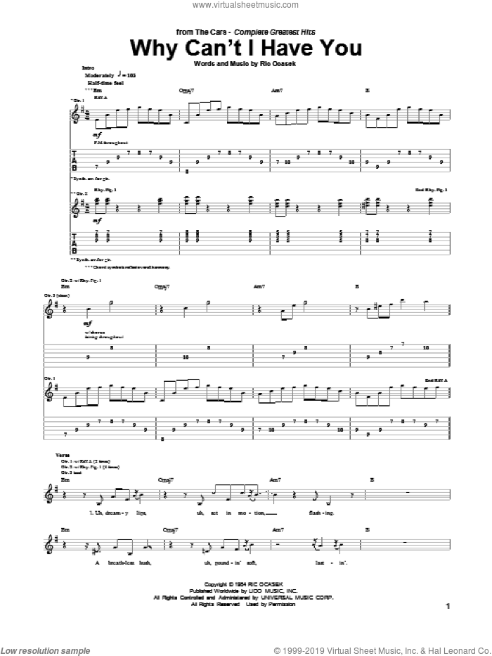 Why Can't I Have You sheet music for guitar (tablature) by Ric Ocasek. Score Image Preview.