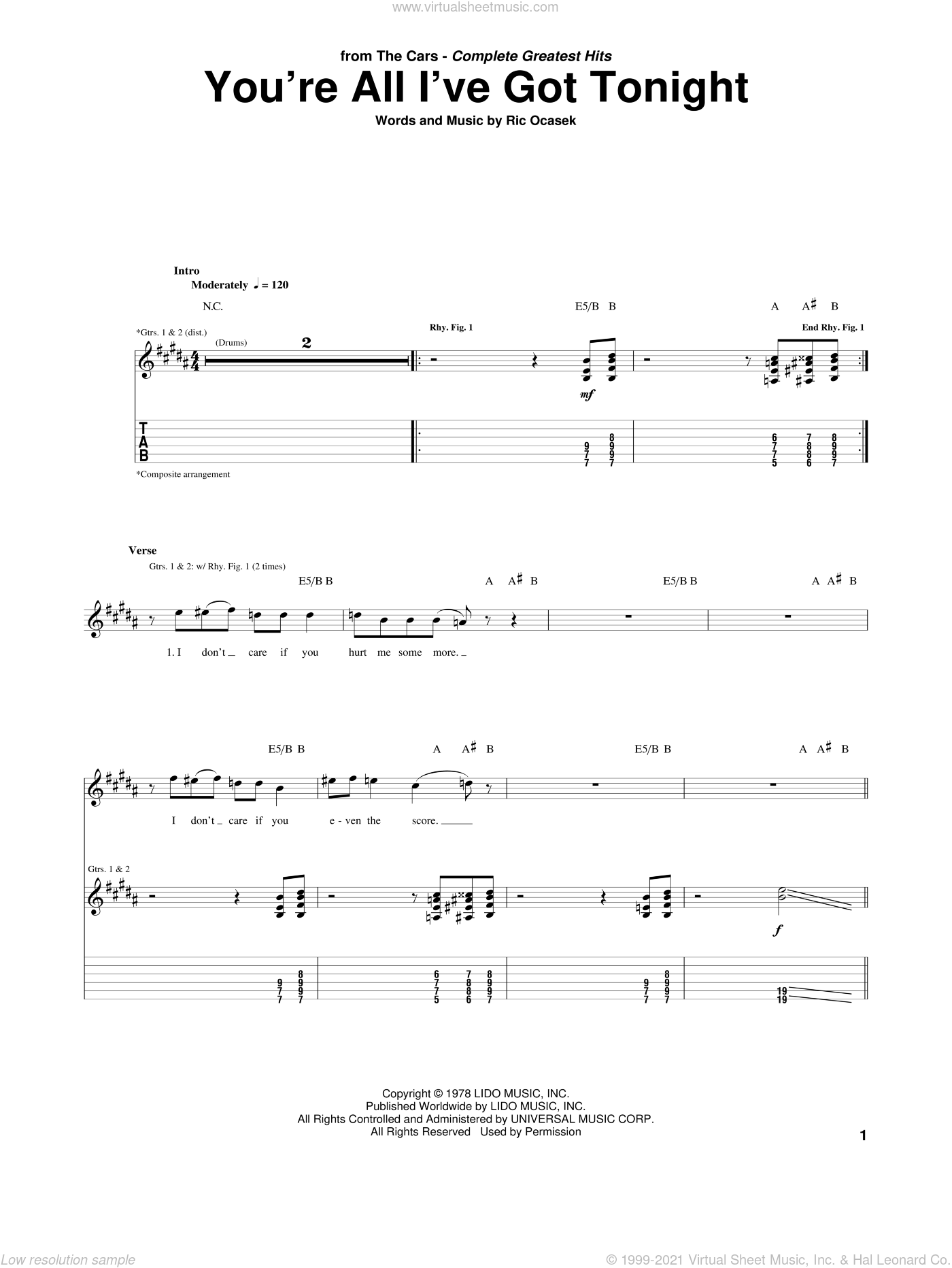 You're All I've Got Tonight sheet music for guitar (tablature) by The Cars, intermediate guitar (tablature). Score Image Preview.
