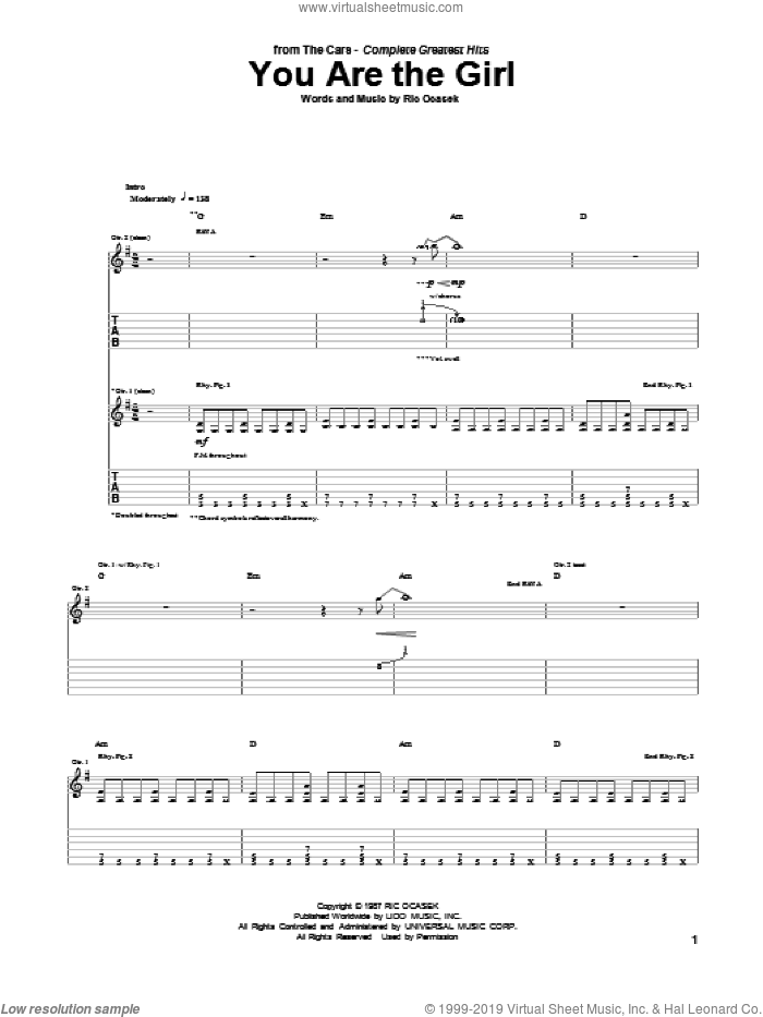 You Are The Girl sheet music for guitar (tablature) by The Cars and Ric Ocasek, intermediate