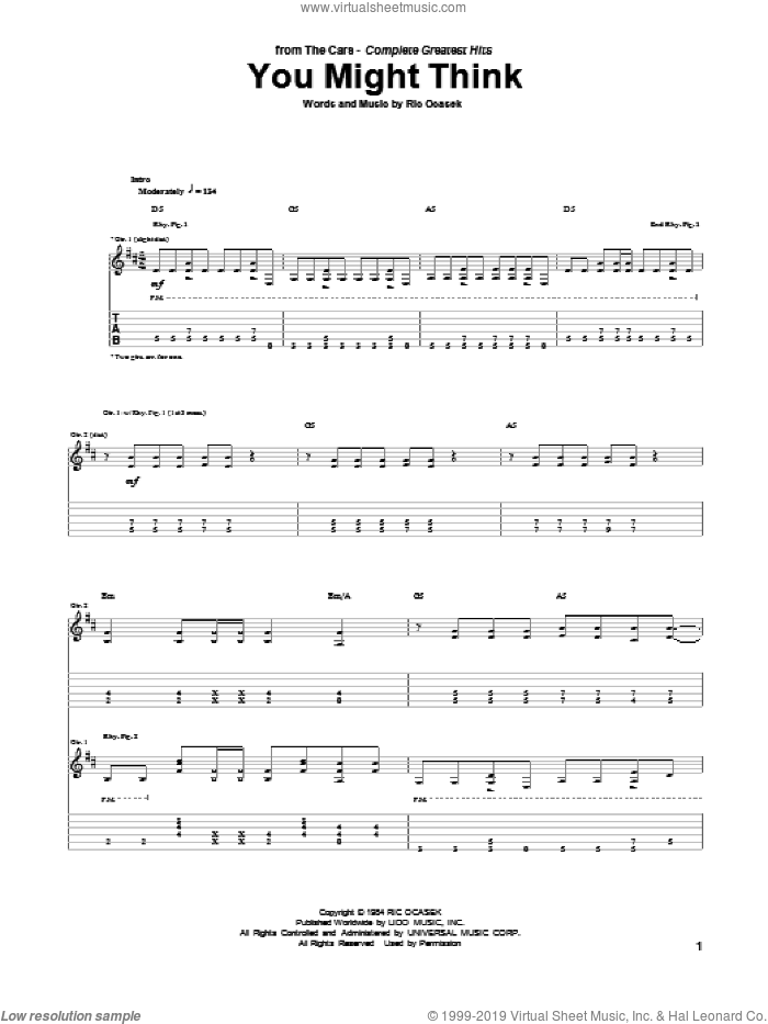 You Might Think sheet music for guitar (tablature) by The Cars, intermediate guitar (tablature). Score Image Preview.