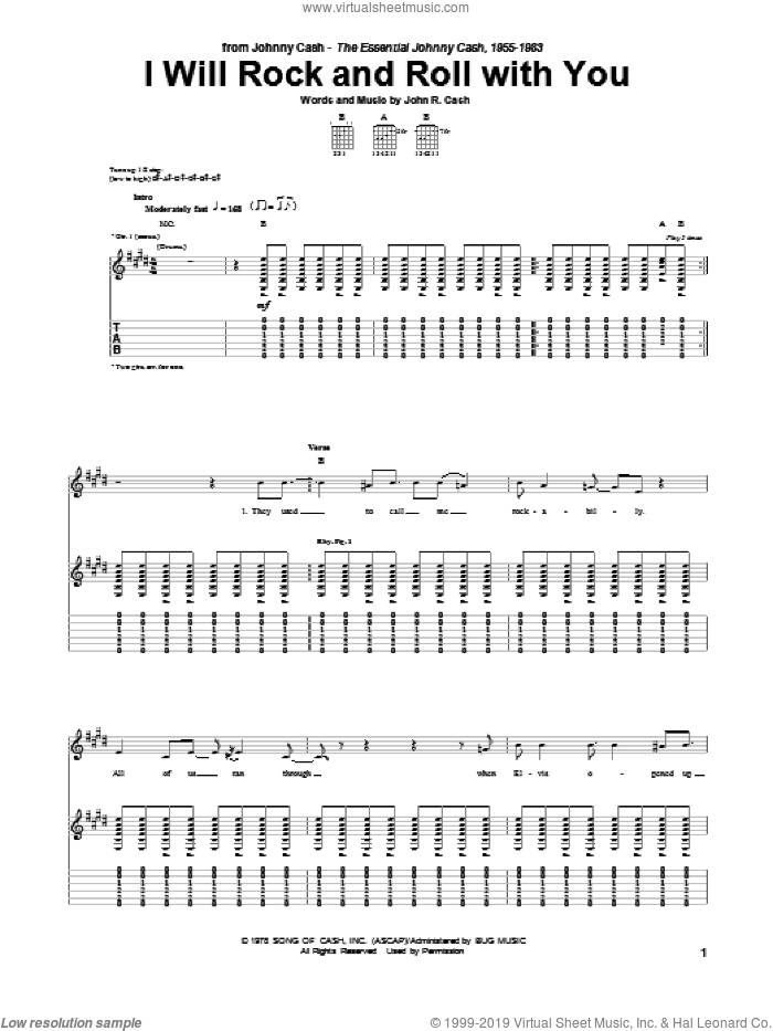 I Will Rock And Roll With You sheet music for guitar (tablature) by Johnny Cash, intermediate skill level