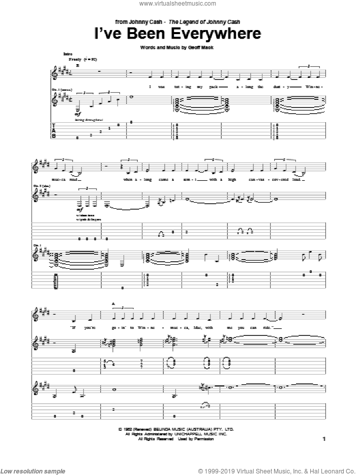 I've Been Everywhere sheet music for guitar (tablature) by Johnny Cash, intermediate. Score Image Preview.