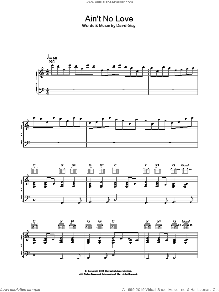 Ain't No Love sheet music for voice, piano or guitar by David Gray. Score Image Preview.