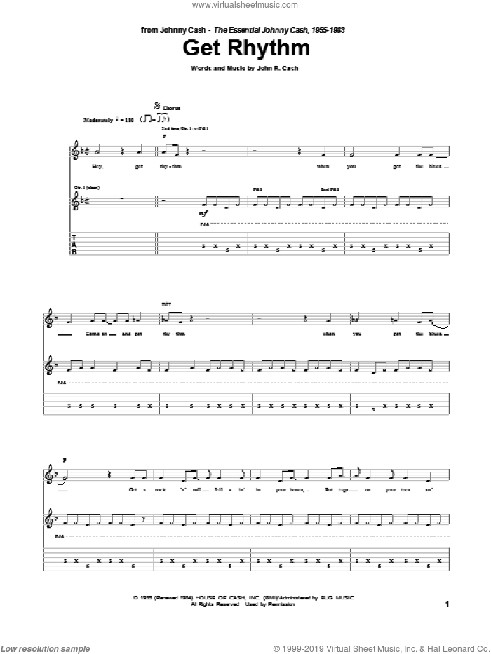 Get Rhythm sheet music for guitar (tablature) by Johnny Cash. Score Image Preview.