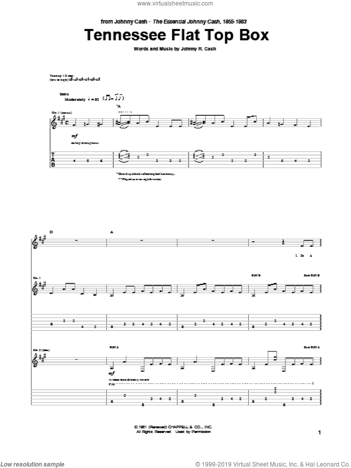Tennessee Flat Top Box sheet music for guitar (tablature) by Johnny Cash. Score Image Preview.