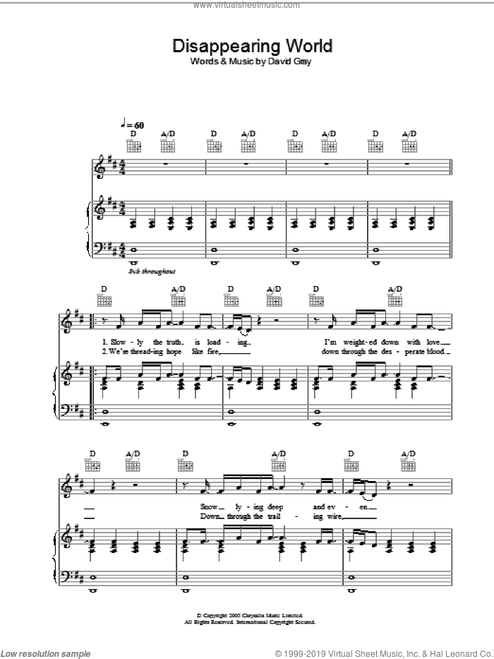 Disappearing World sheet music for voice, piano or guitar by David Gray. Score Image Preview.