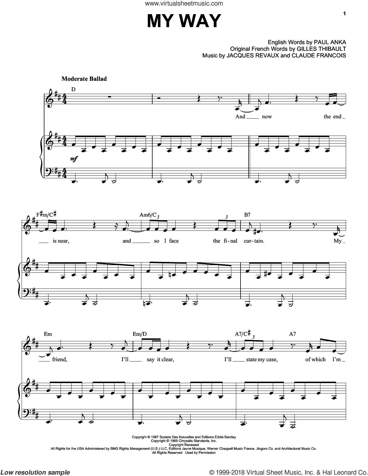 My Way sheet music for voice, piano or guitar by Paul Anka, Claude Francois and Jacques Revaux. Score Image Preview.