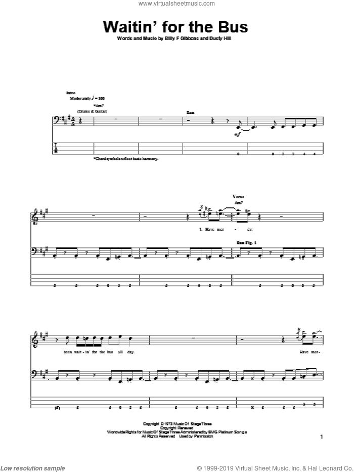 Waitin' For The Bus sheet music for bass (tablature) (bass guitar) by ZZ Top, Billy Gibbons and Dusty Hill, intermediate skill level