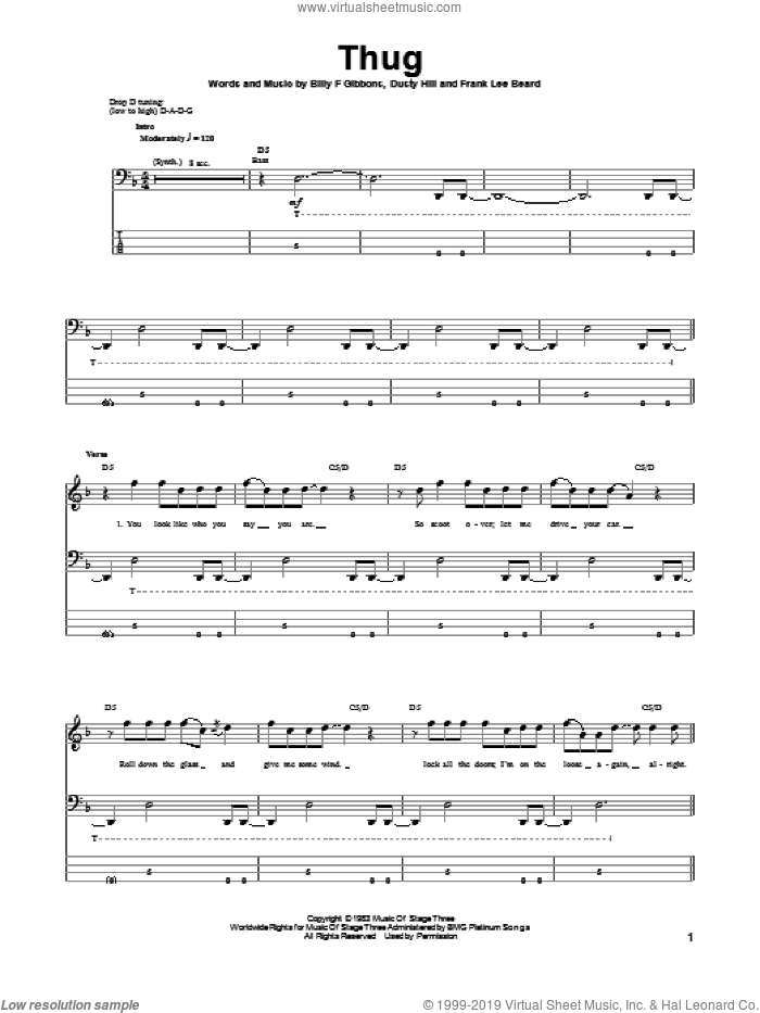 Thug sheet music for bass (tablature) (bass guitar) by ZZ Top, Billy Gibbons, Dusty Hill and Frank Beard, intermediate skill level