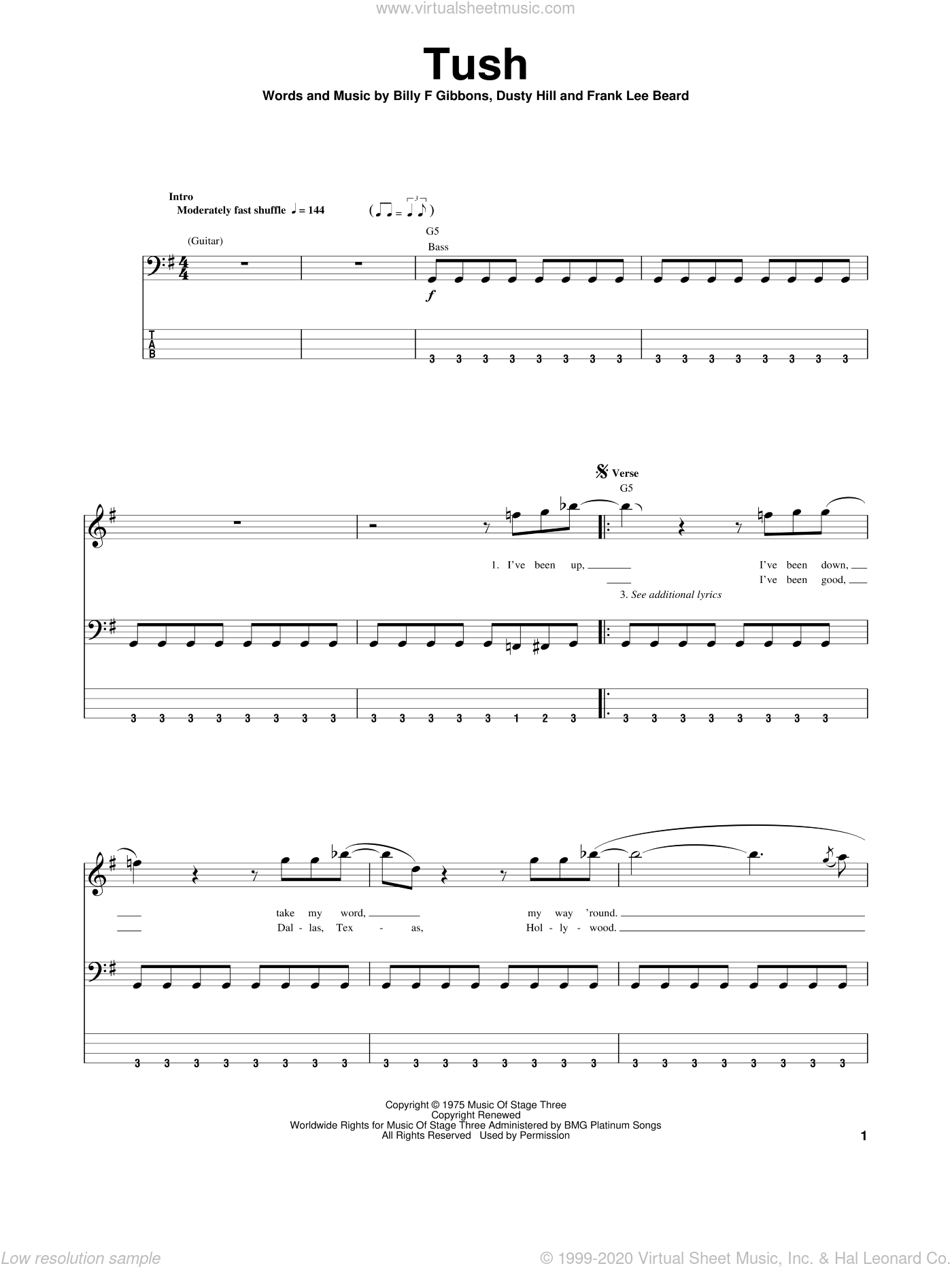 Tush sheet music for bass (tablature) (bass guitar) by ZZ Top, intermediate bass (tablature) (bass guitar). Score Image Preview.