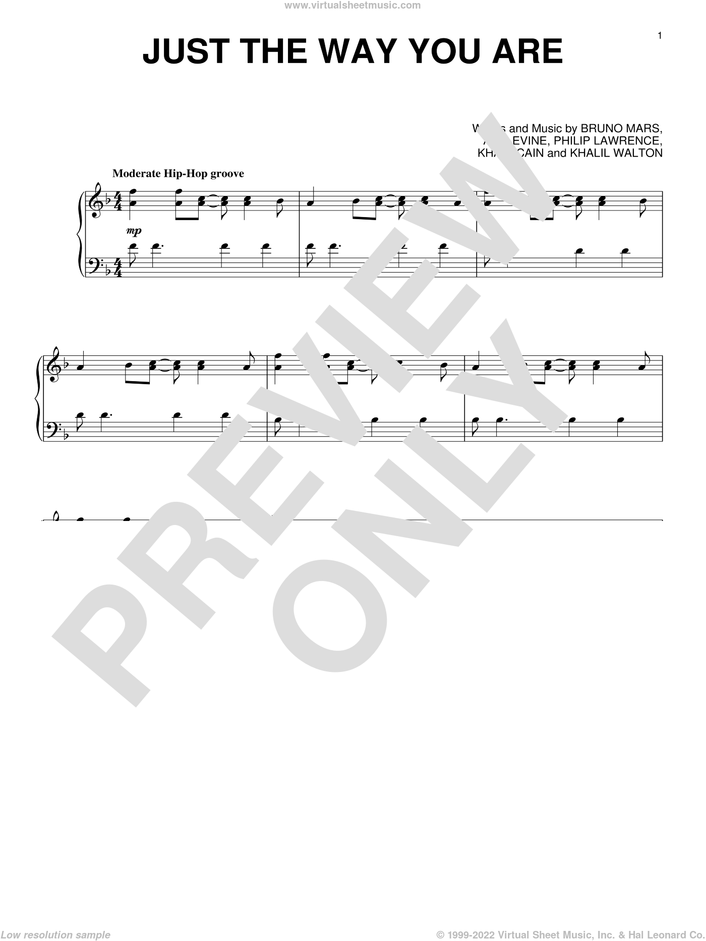 Just The Way You Are, (intermediate) sheet music for piano solo by Bruno Mars, Ari Levine, Khalil Walton, Khari Cain and Philip Lawrence, intermediate skill level