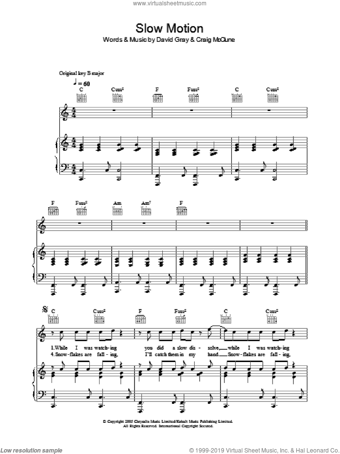 Slow Motion sheet music for voice, piano or guitar by Craig McClune and David Gray. Score Image Preview.