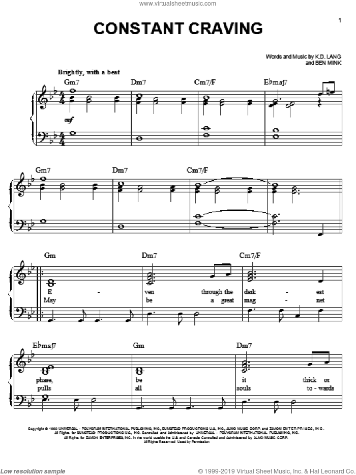 Constant Craving sheet music for piano solo by Glee Cast, Glee Cast (TV Series), k.d. lang and Ben Mink, easy