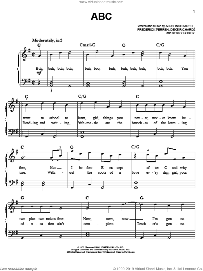 ABC sheet music for piano solo (chords) by Frederick Perren
