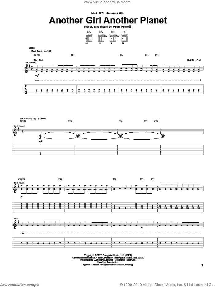 Another Girl Another Planet sheet music for guitar (tablature) by Peter Perrett