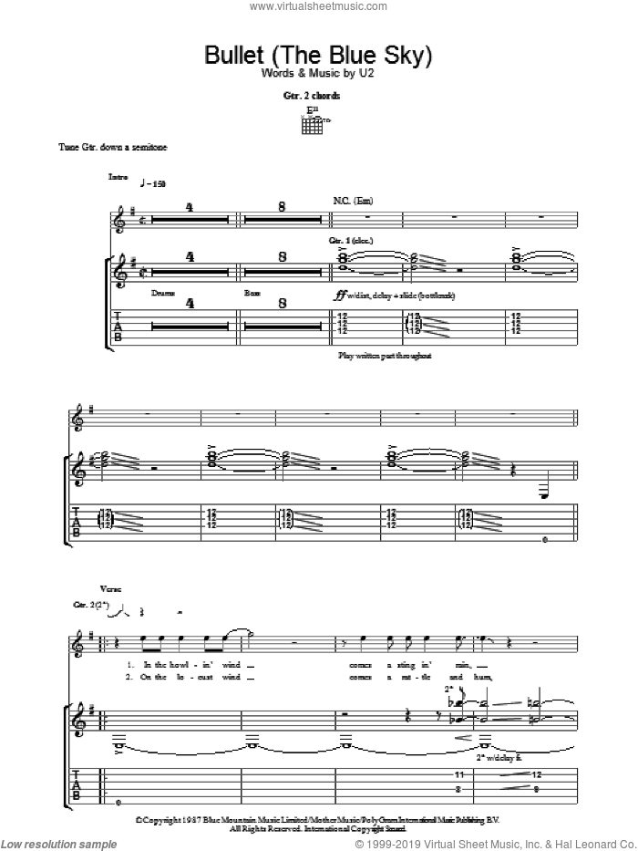 Bullet The Blue Sky sheet music for guitar (tablature) by U2, intermediate. Score Image Preview.