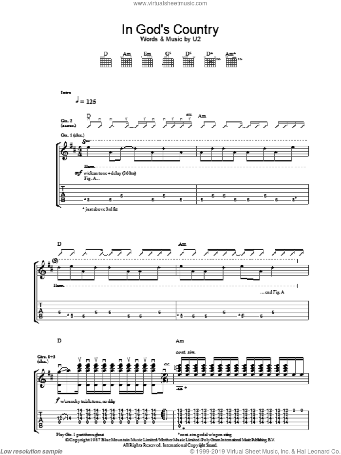 In God's Country sheet music for guitar (tablature) by U2. Score Image Preview.