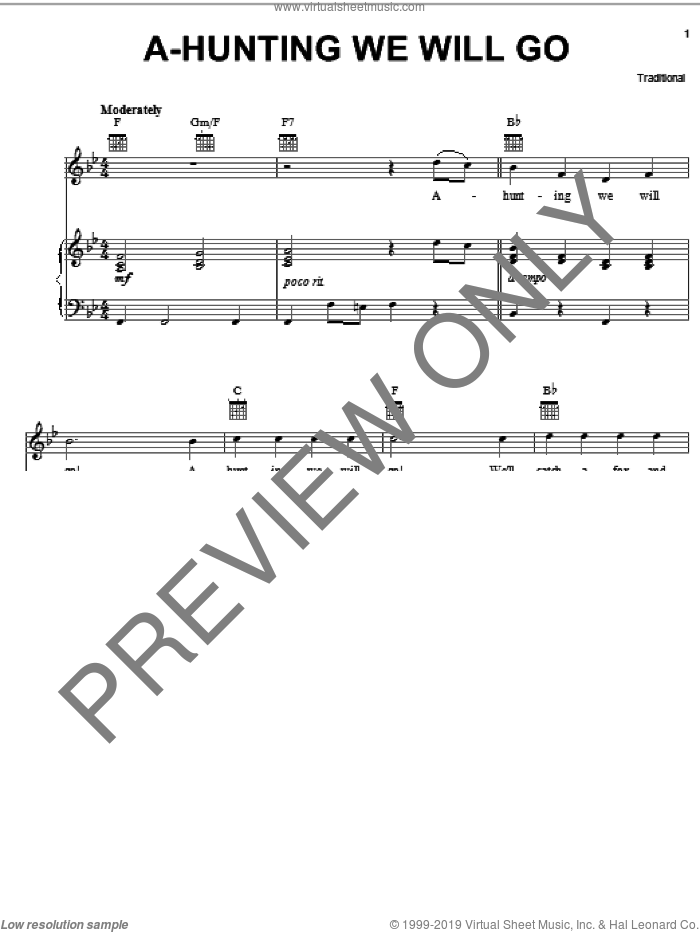 A-Hunting We Will Go sheet music for voice, piano or guitar, intermediate skill level
