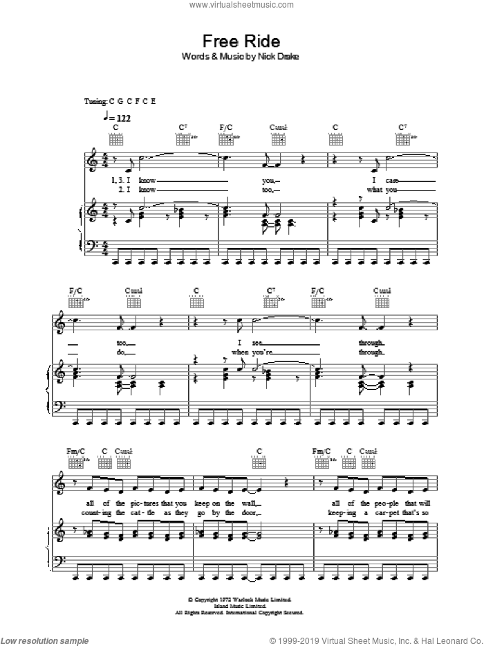 Free Ride sheet music for voice, piano or guitar by Nick Drake. Score Image Preview.