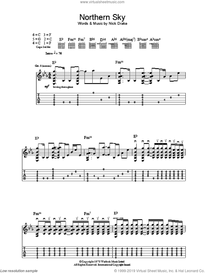 Northern Sky sheet music for guitar (tablature) by Nick Drake. Score Image Preview.