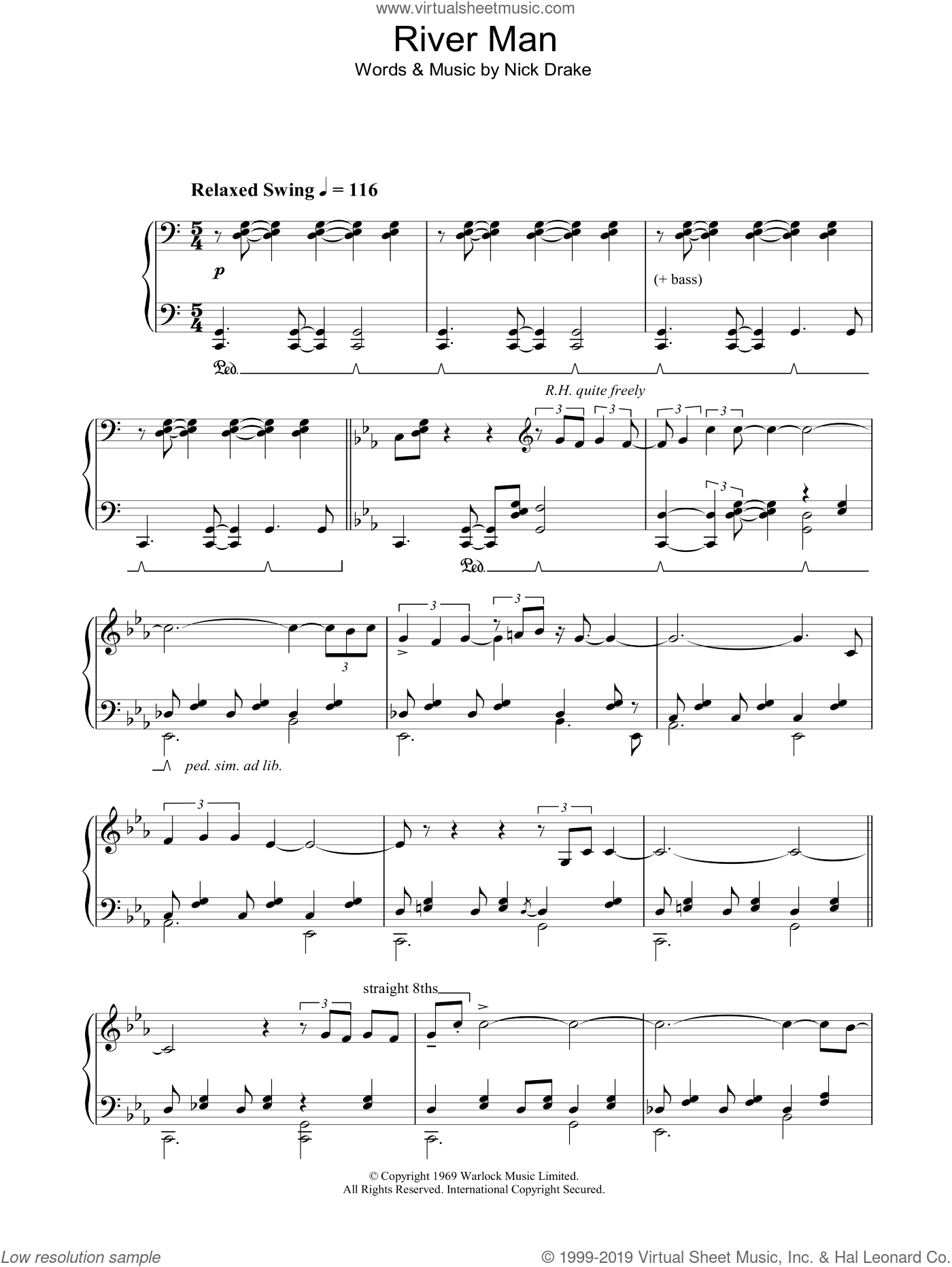 River Man sheet music for piano solo by Nick Drake, intermediate skill level