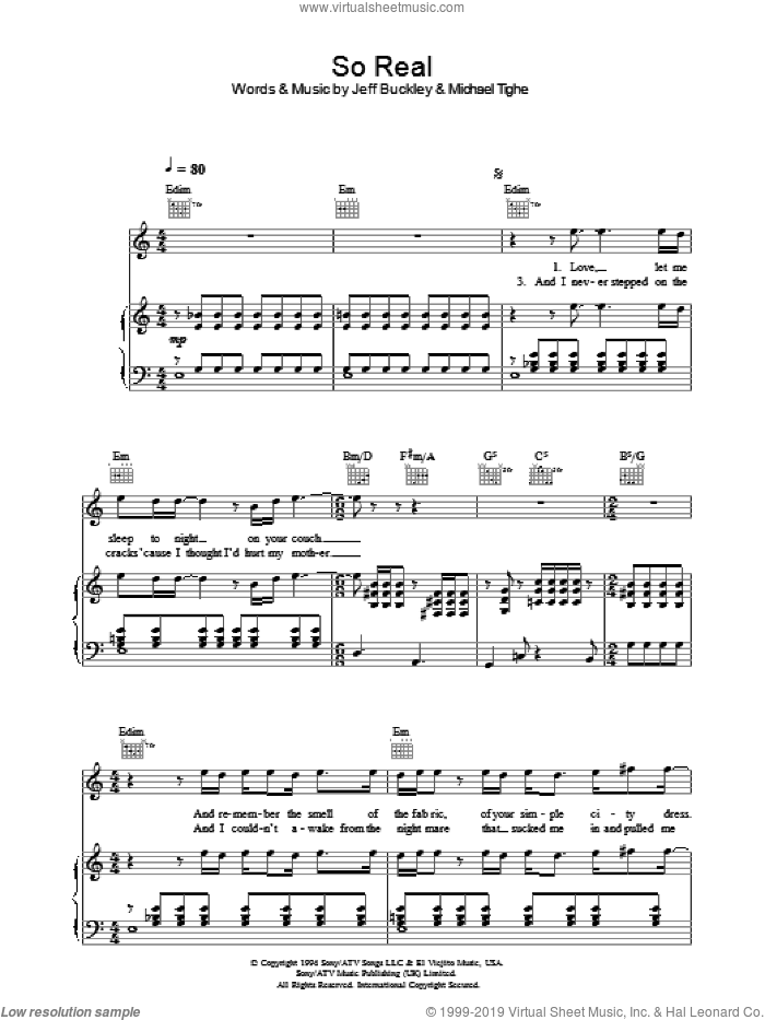 So Real sheet music for voice, piano or guitar by Jeff Buckley, intermediate. Score Image Preview.