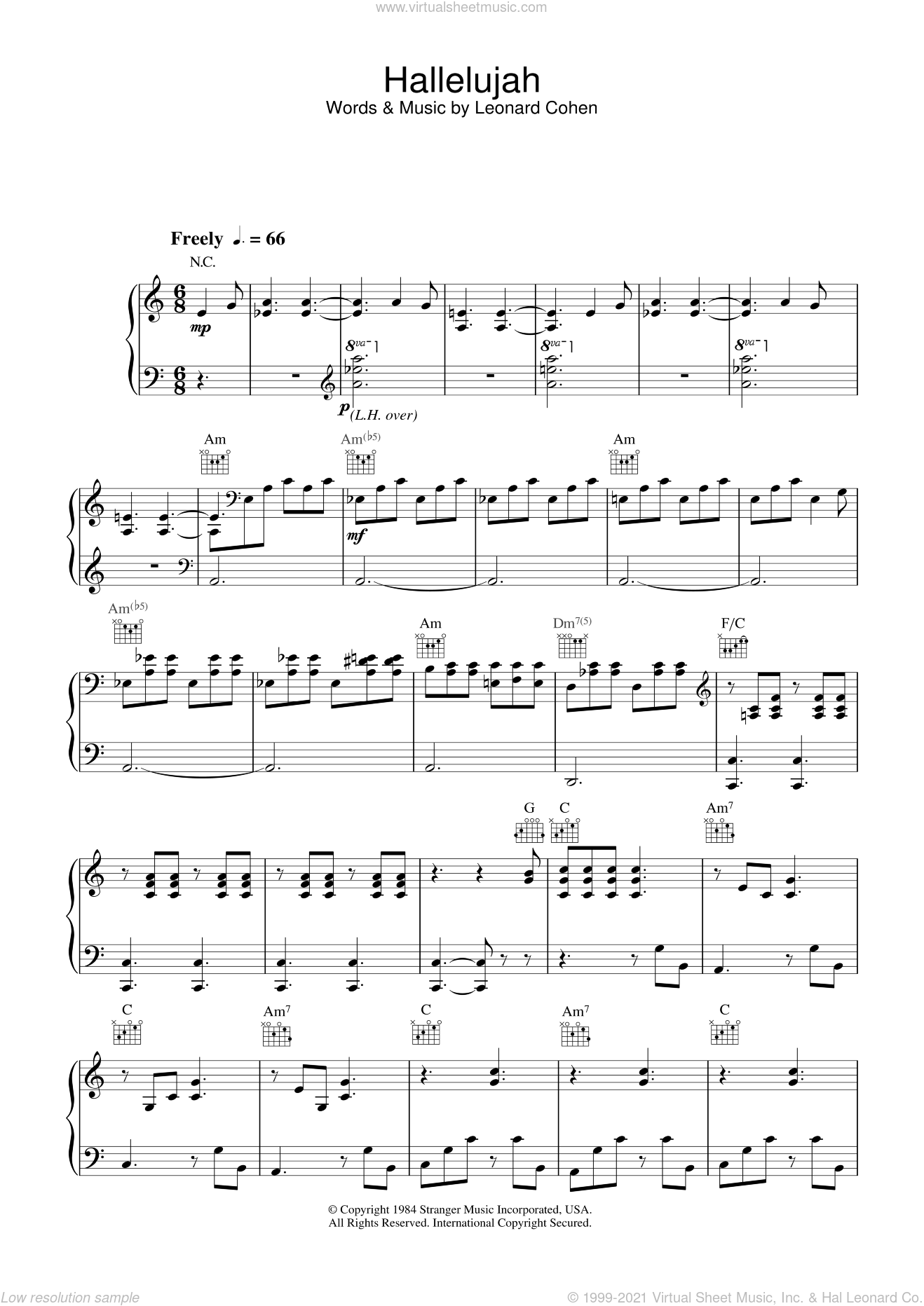 Buckley Hallelujah Sheet Music For Voice Piano Or Guitar Pdf