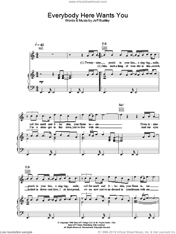 Everybody Here Wants You sheet music for voice, piano or guitar by Jeff Buckley. Score Image Preview.